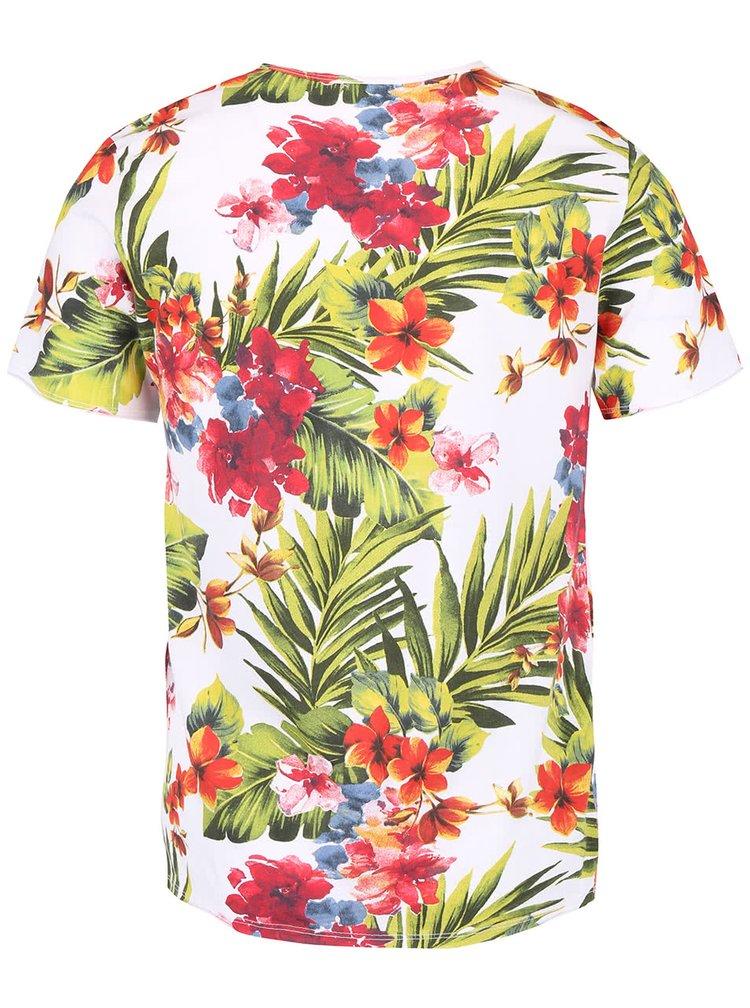 Bílé pánské triko s tropickým vzorem ZOOT