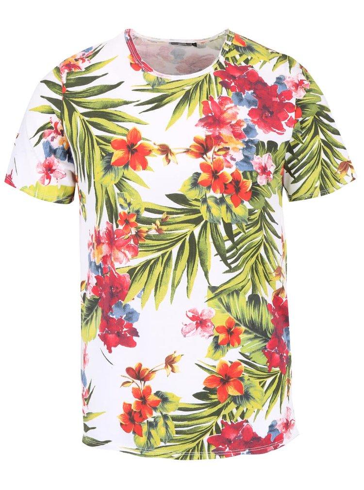Biele pánske tričko s tropickým vzorom ZOOT