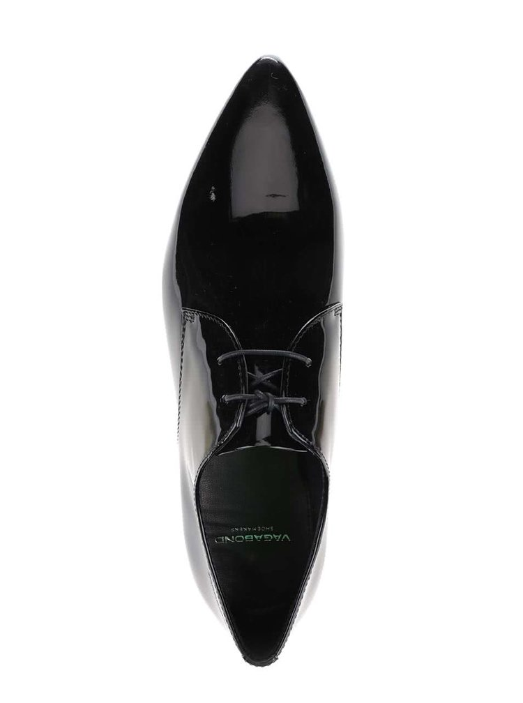 Čierne dámske kožené lesklé poltopánky Vagabond Katlin