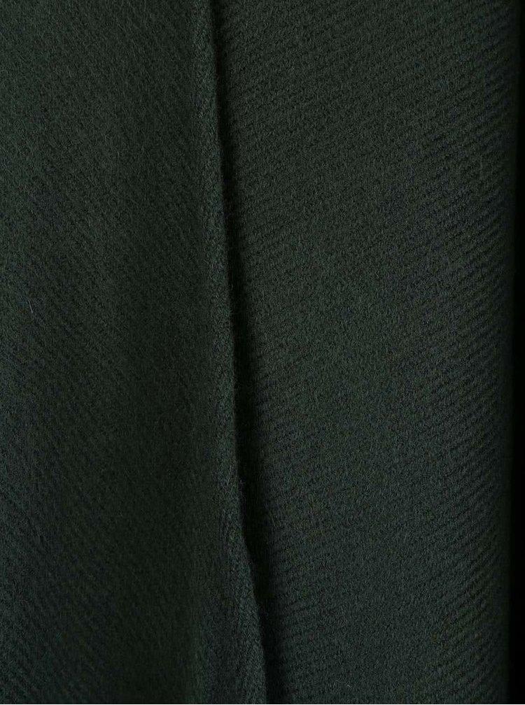 Tmavě zelené pončo s třásněmi ONLY Jaya