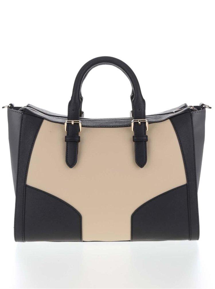Béžovo-čierna kabelka Tommy Hilfiger