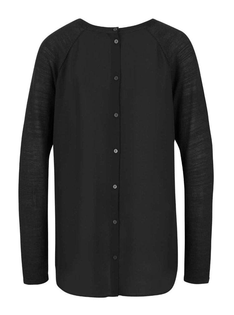 Černý dámský lehký svetr s šifonovou zadní stranou Bench