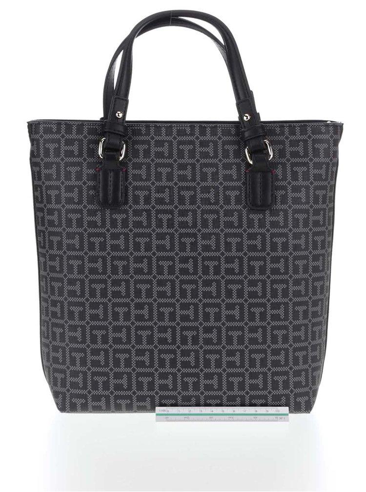 Sivo-čierna pozdĺžna kabelka Tommy Hilfiger