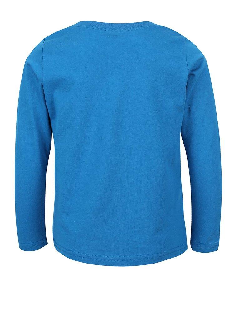 Modré klučičí triko s potiskem a dlouhým rukávem name it Victor