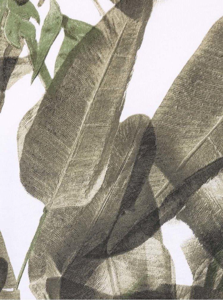 Zeleno-bílé pánské triko s tropickým vzorem ZOOT