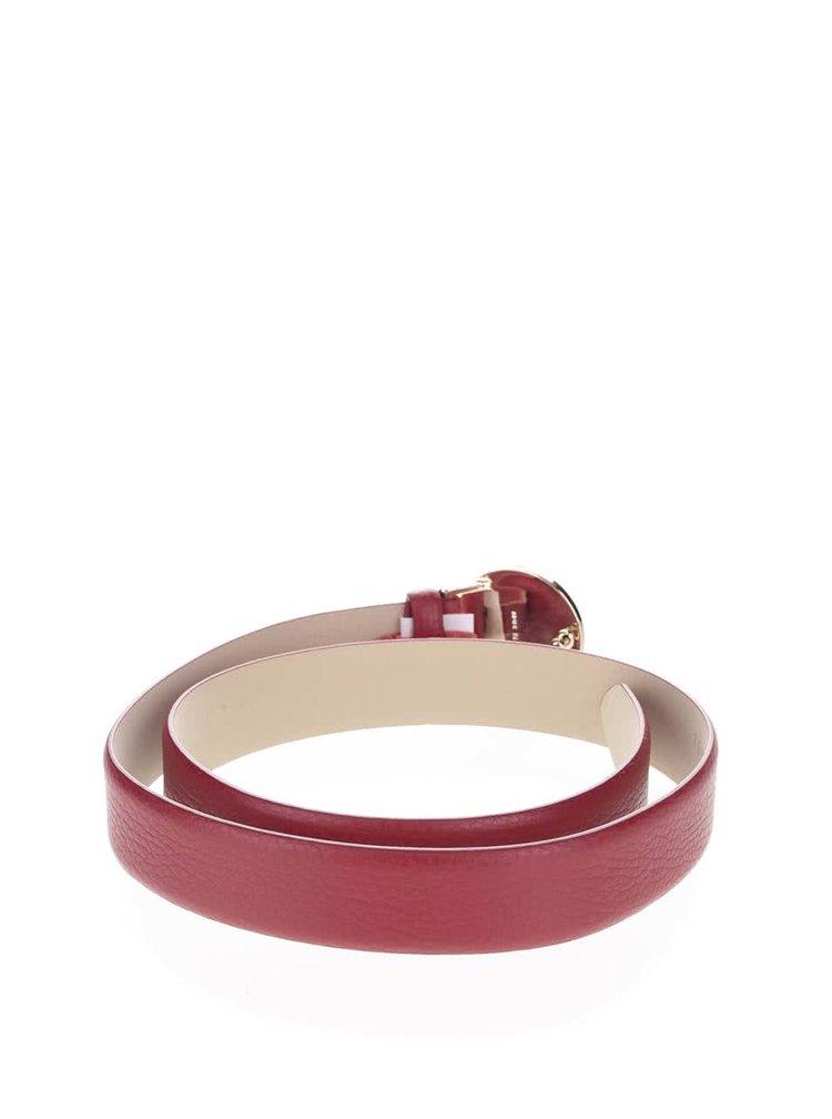 Červený dámský kožený pásek s kulatou přezkou Tommy Hilfiger