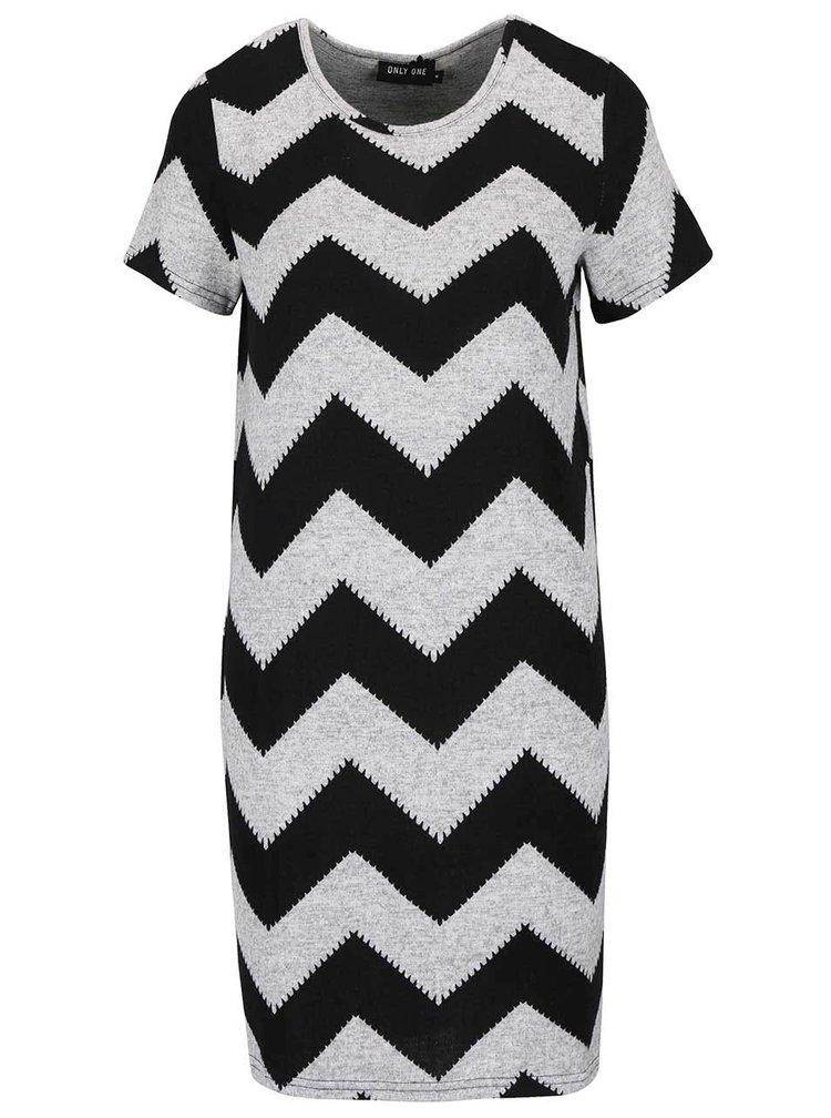 Černo-šedé vzorované šaty ONLY Elcos