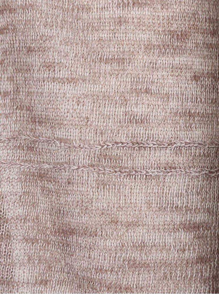 Světle hnědý žíhaný cardigan s 3/4 rukávy ONLY Haxby