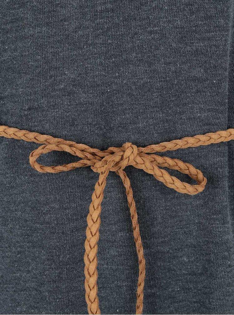 Šedé žíhané šaty s páskem ONLY Sienna