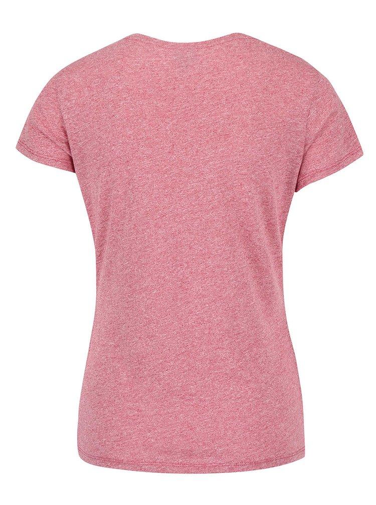 Tmavě růžové žíhané dámské tričko s potiskem Bench