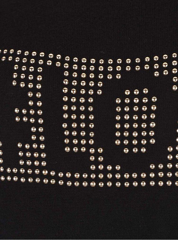 Čierne tričko s aplikáciou v zlatej farbe TALLY WEiJL Catdog