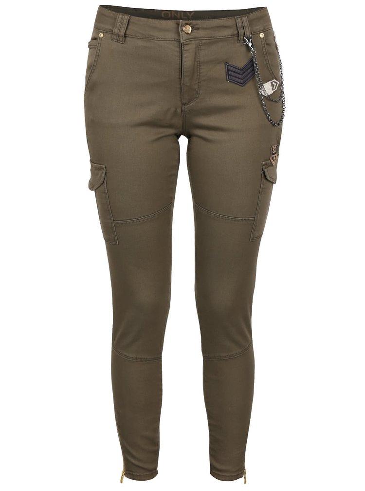 Kaki kapsáčové nohavice ONLY Amy Cargo