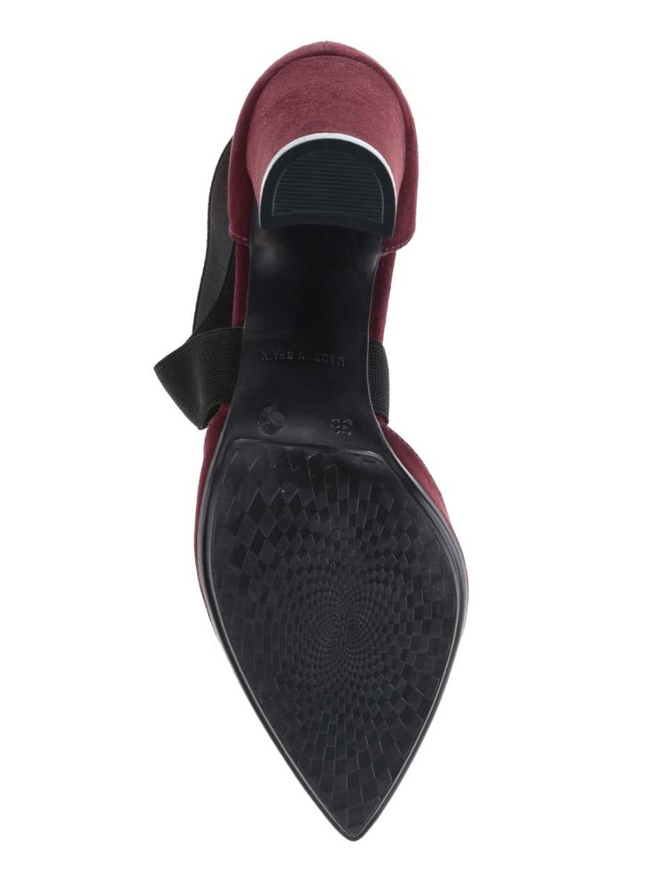 Vínové topánky na podpätku v semišovej úprave OJJU