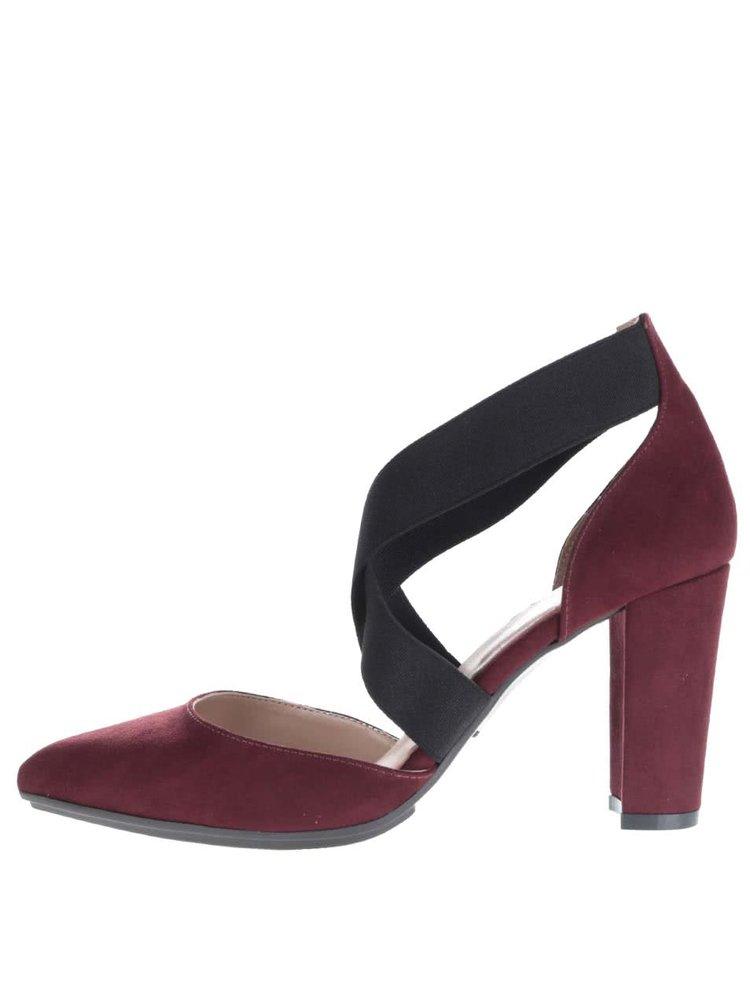 Vínové boty na podpatku v semišové úpravě OJJU