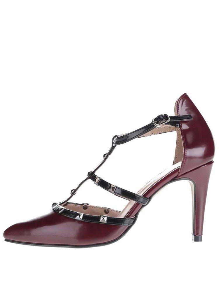 Vínové otvorené topánky na podpätku s cvokmi OJJU