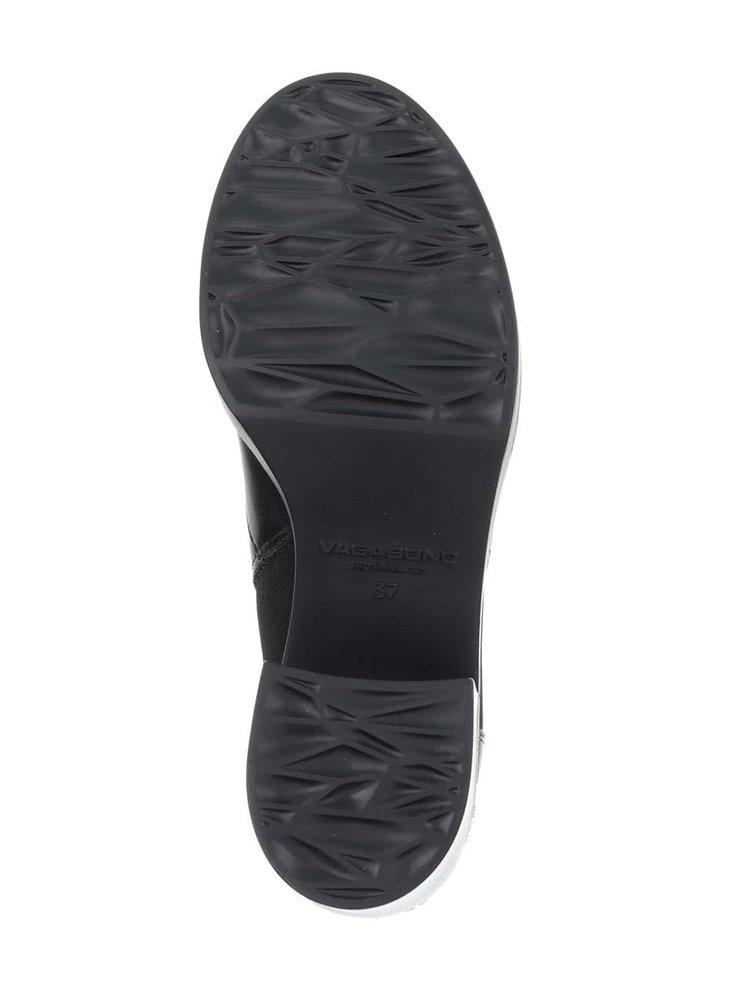 Černé kožené kotníkové boty na podpatku Vagabond Tilda