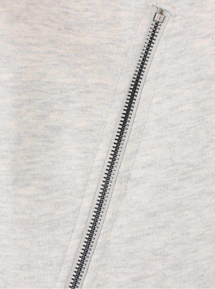 Světle šedá žíhaná mikina s postranními zipy ONLY Whipper