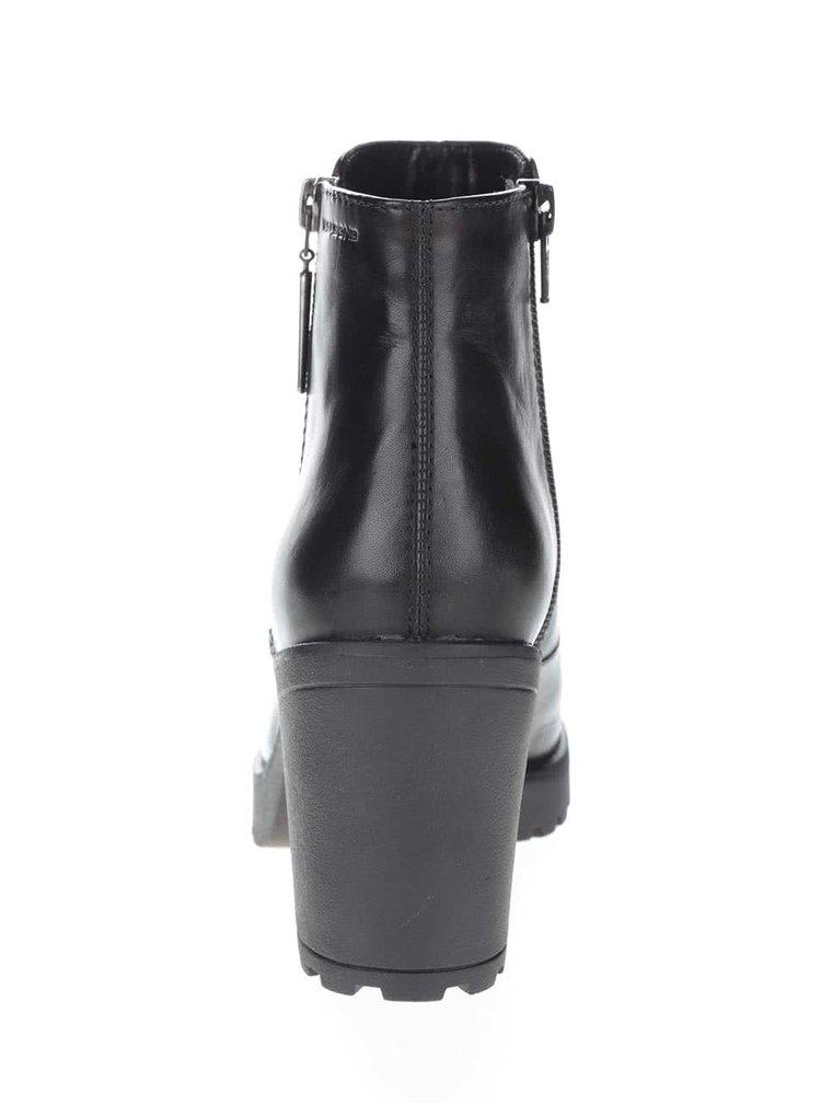 Čierne kožené členkové topánky na podpätku Vagabond Grace