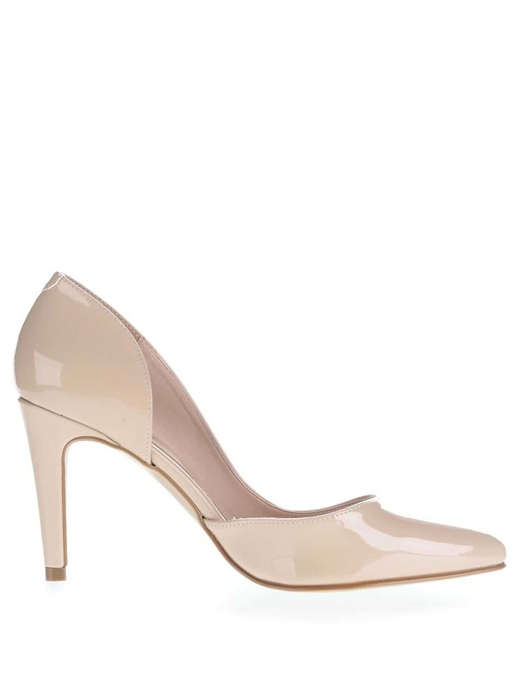 Pantofi bej cu toc OJJU cu decupaj lateral