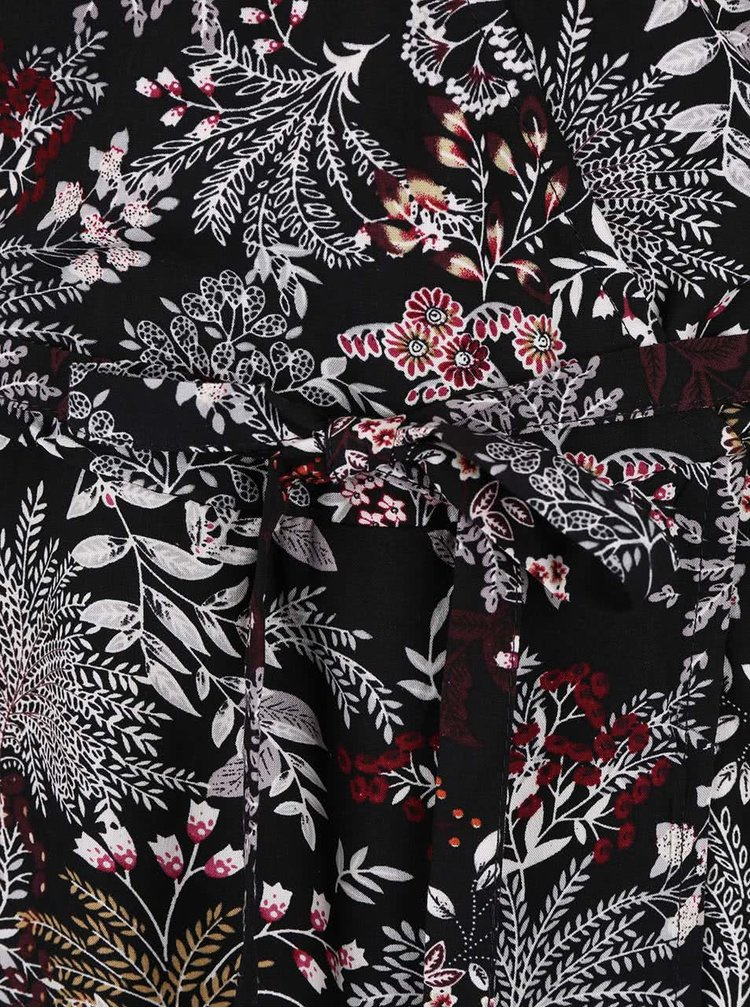 Černé květované šaty s překládaným výstřihem ONLY Nova