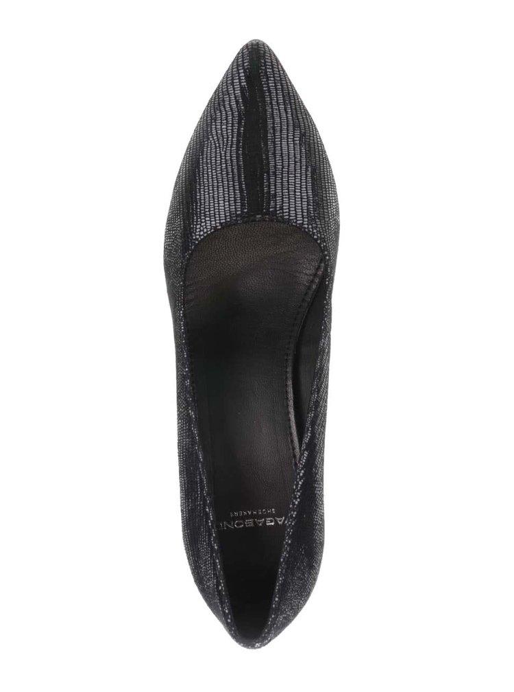 Pantofi negri cu toc Vagabond Esther cu aspect piele de șarpe