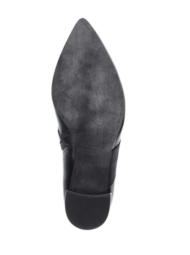 Černé kožené boty na podpatku Vagabond Saida
