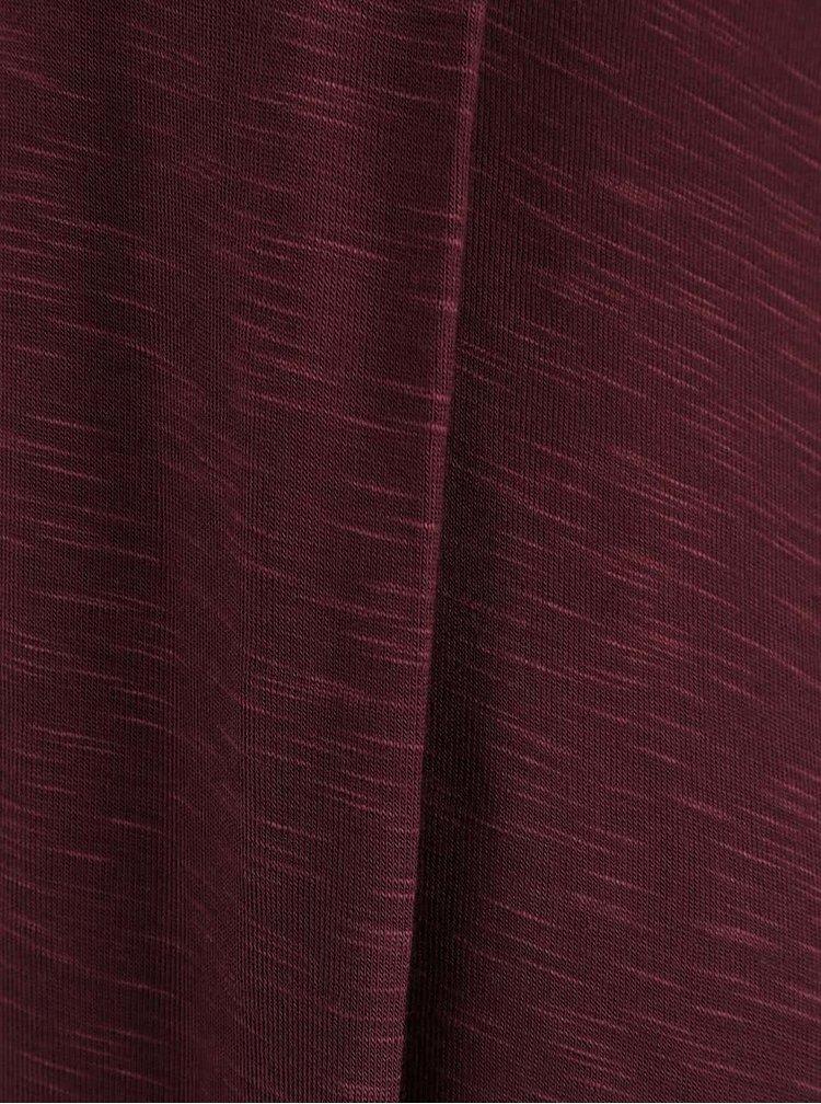 Vínovohnedé prekladané dámske tričko Bench
