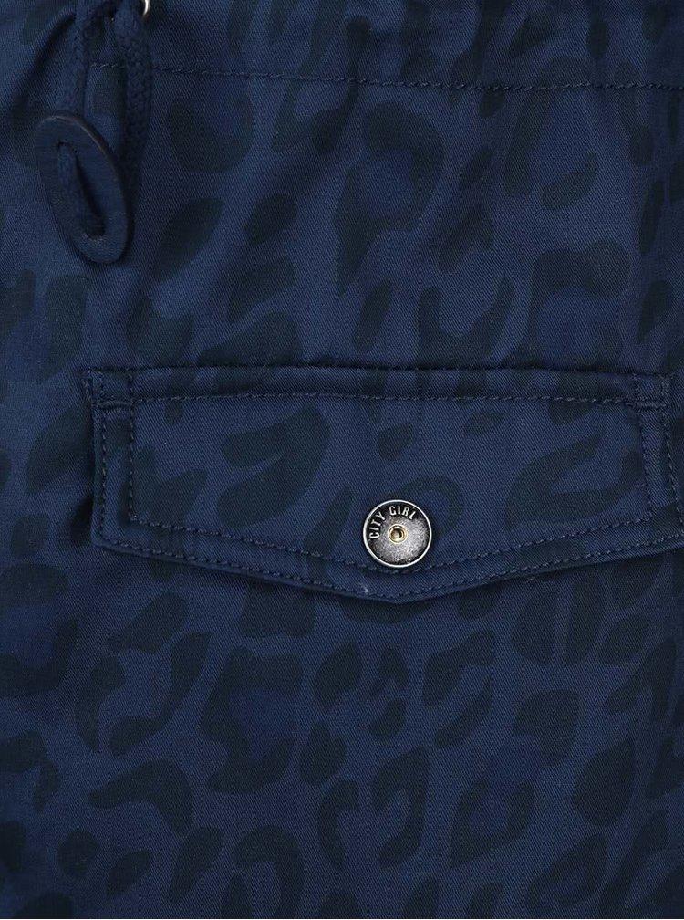 Tmavě modrý holčičí vzorovaný kabát s vnitřním  kožíškem 5.10.15.