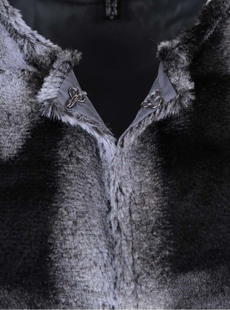 Čiernosivá vesta z umelej kožušiny Mela London
