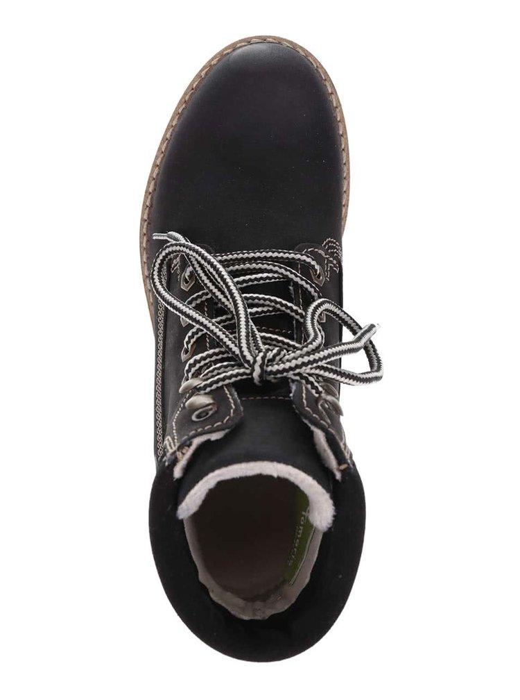 Čierne kožené členkové topánky Tamaris