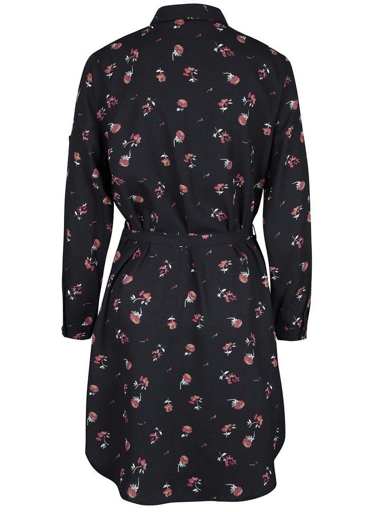 Černé květované košilové šaty Mela London