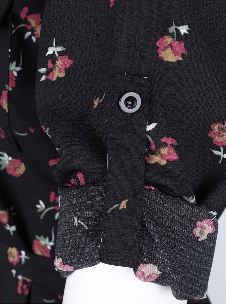 Rochie tip cămașă Mela London negră cu imprimeu