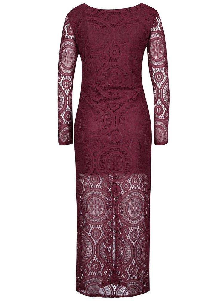 Vínové krajkové dlouhé šaty Mela London