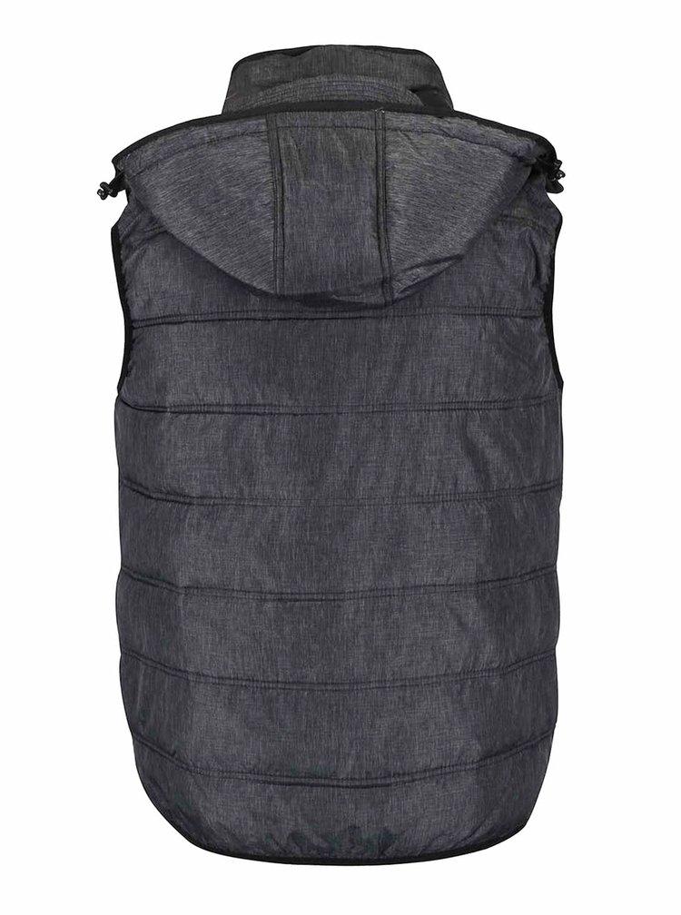 Sivá prešívaná vesta s kapucňou Blend