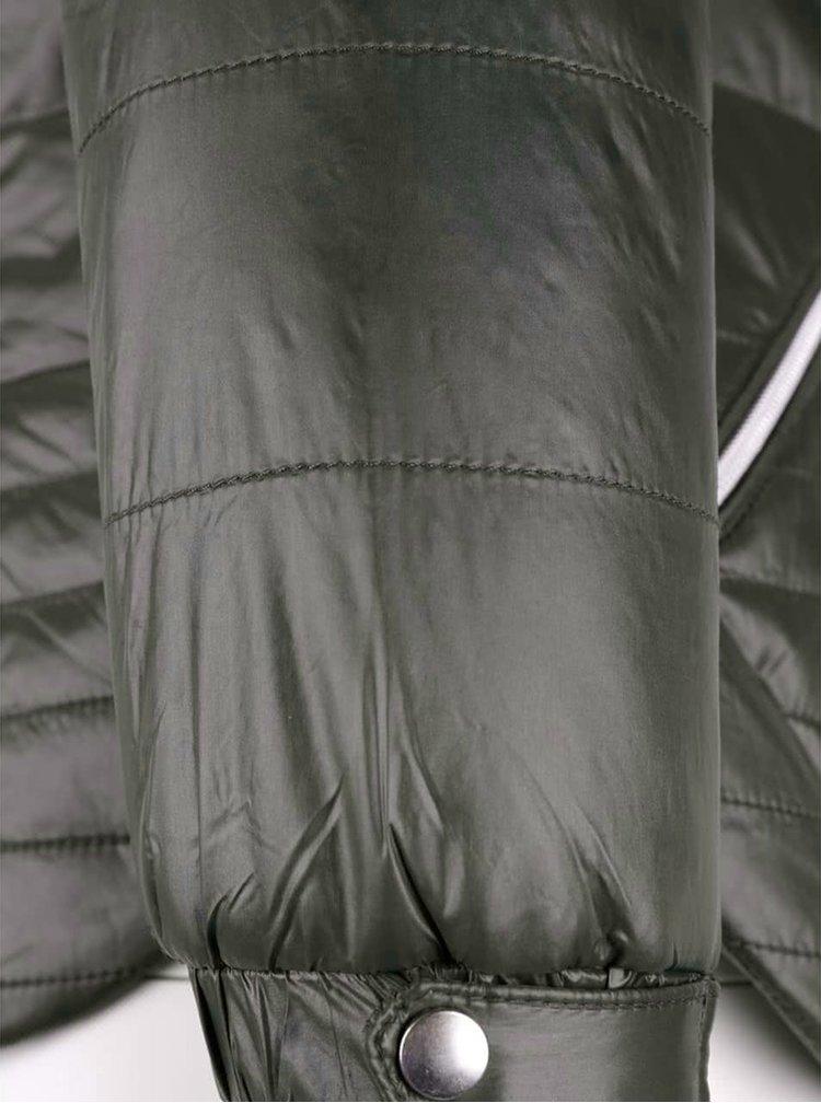 Khaki prošívaná lesklá bunda VERO MODA Susannah