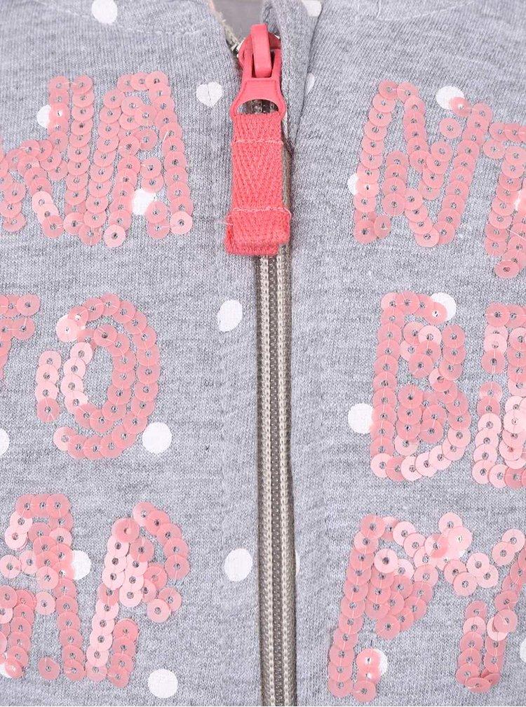 Světle šedá holčičí puntíkovaná mikina s potiskem 5.10.15.