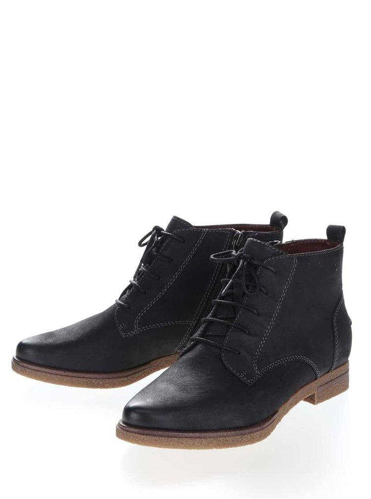 Černé kožené kotníkové boty se zipem Tamaris