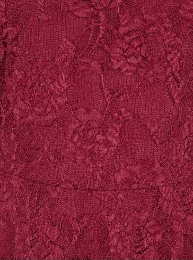 Červené čipkované šaty s dlhým rukávom Mela London