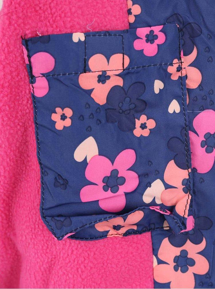 Růžovo-modrá holčičí vesta s květy 5.10.15.