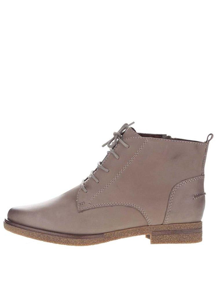 Béžové kožené členkové topánky so zipsom Tamaris