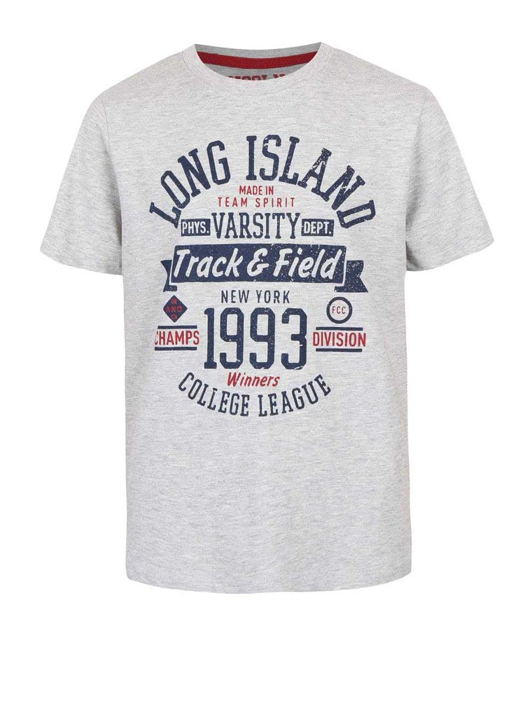 Sivé chlapčenské melírované tričko s potlačou 5.10.15.