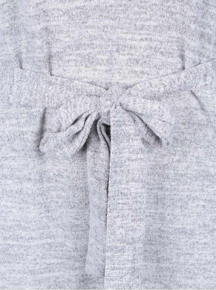 Šedé žíhané šaty s dlouhým rukávem Mela London