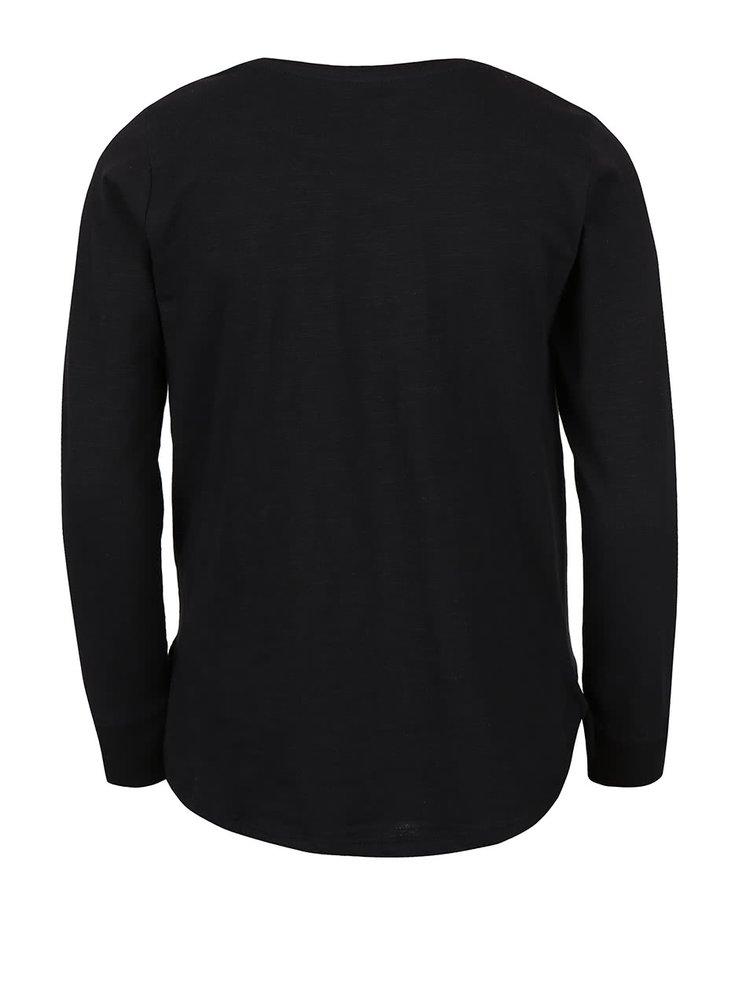 Čierne dievčenské tričko s nápisom a dlhým rukávom 5.10.15.