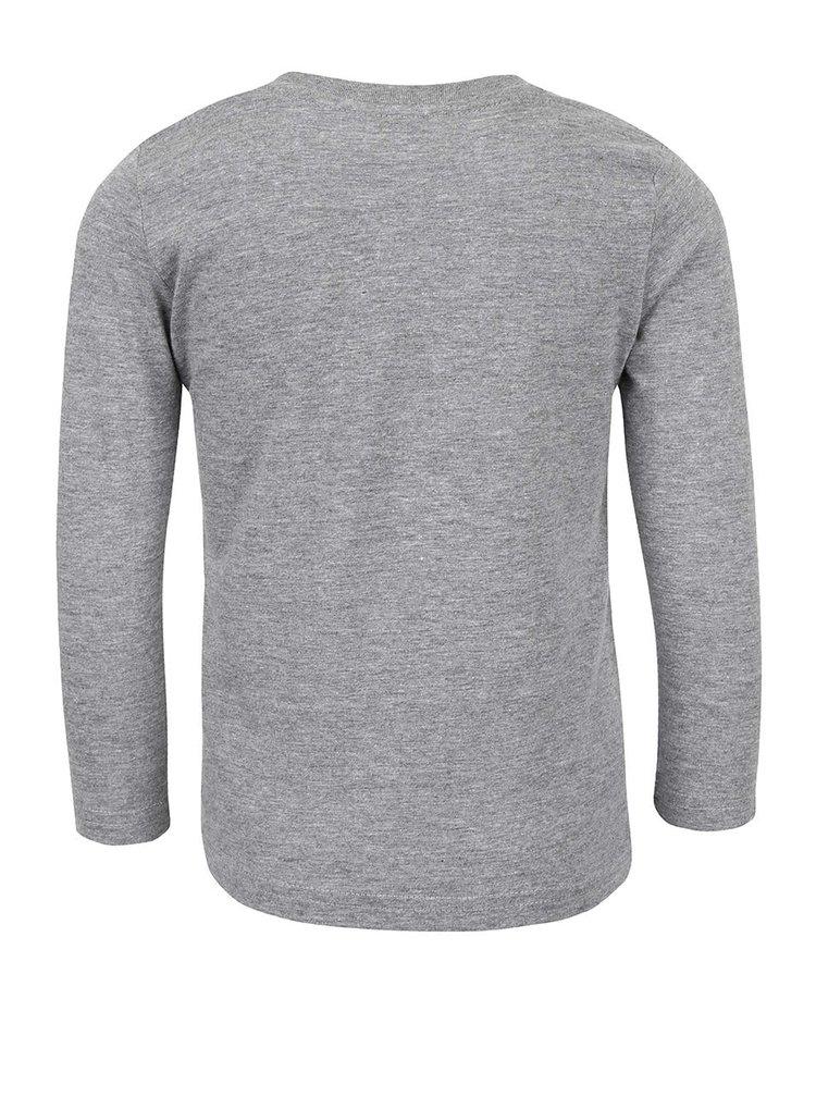 Sivé chlapčenské tričko s nápisom a dlhým rukávom 5.10.15.