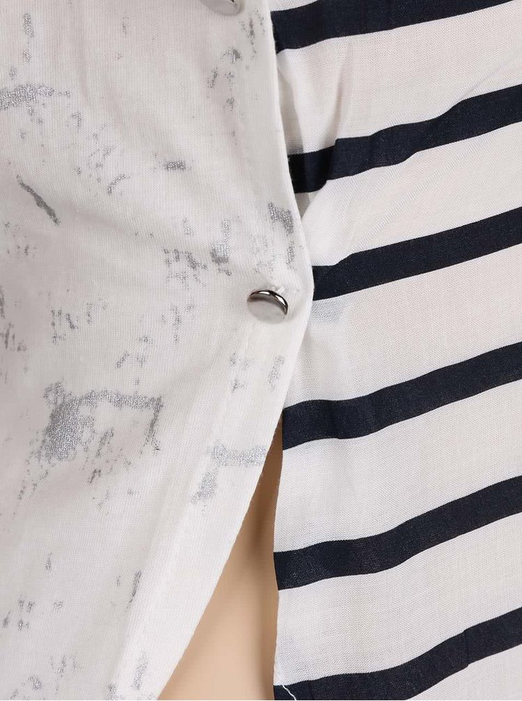 Krémové dievčenské pruhované tričko s dlhým rukávom 5.10.15.