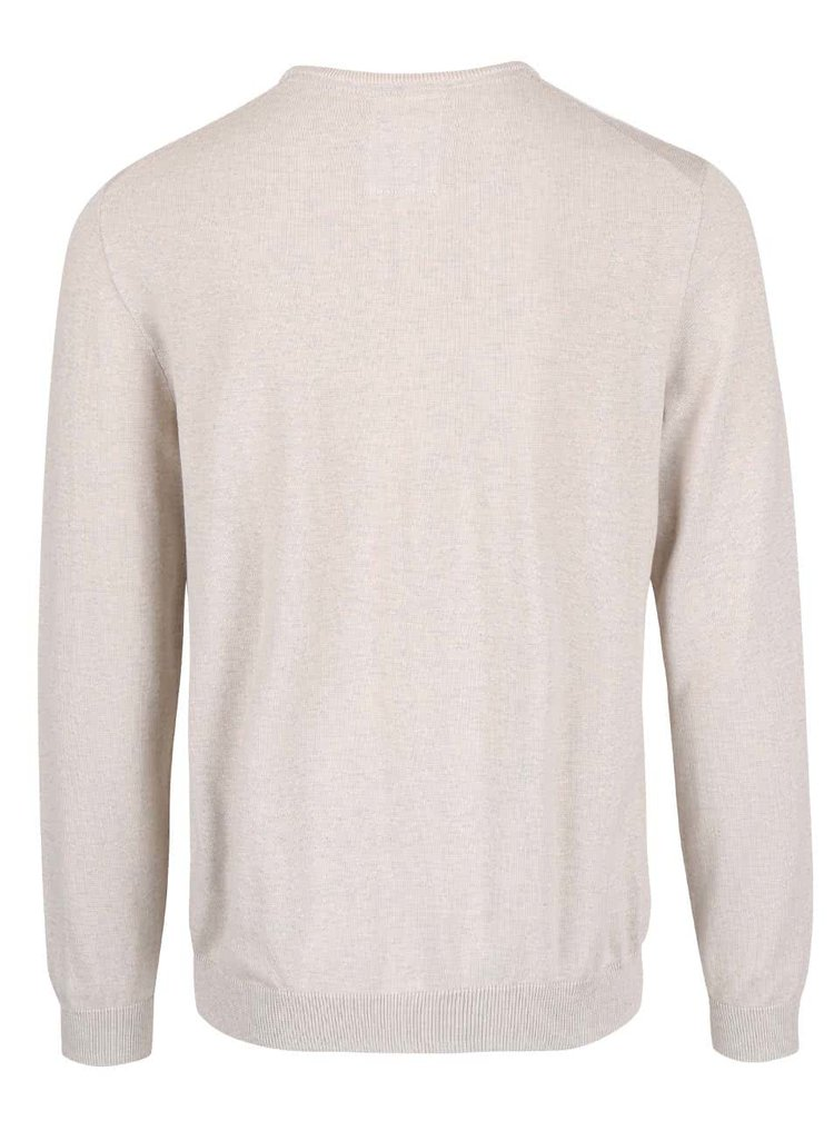 Béžový pánský svetr s kulatým výstřihem s.Oliver