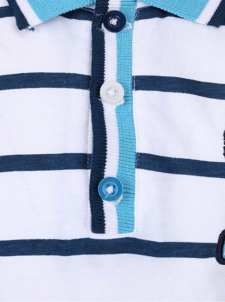 Bílé klučičí pruhované polo triko s nášivkou 5.10.15.
