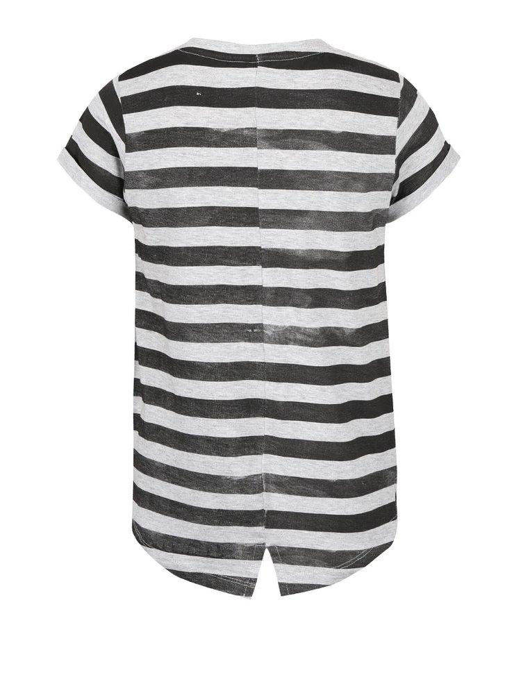 Šedé žíhané holčičí pruhované tričko s nápisem 5.10.15.
