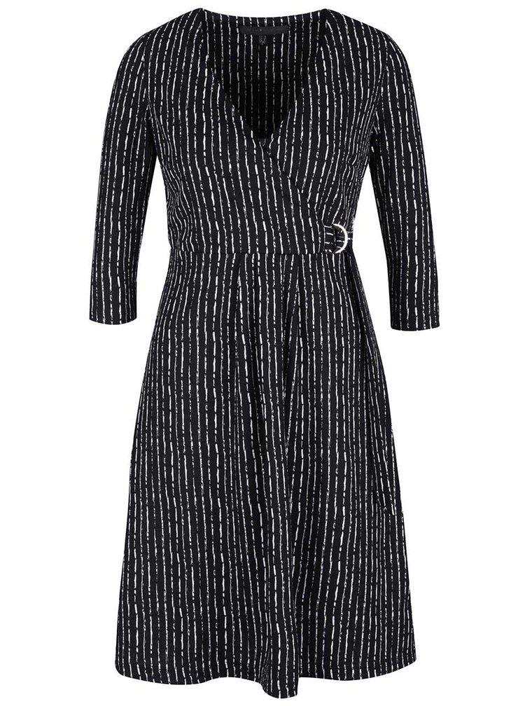 Černé vzorované šaty s překládaným výstřihem Mela London