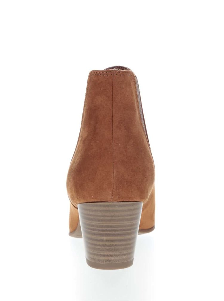 Světle hnědé kotníkové boty na podpatku v semišové úprávě Tamaris